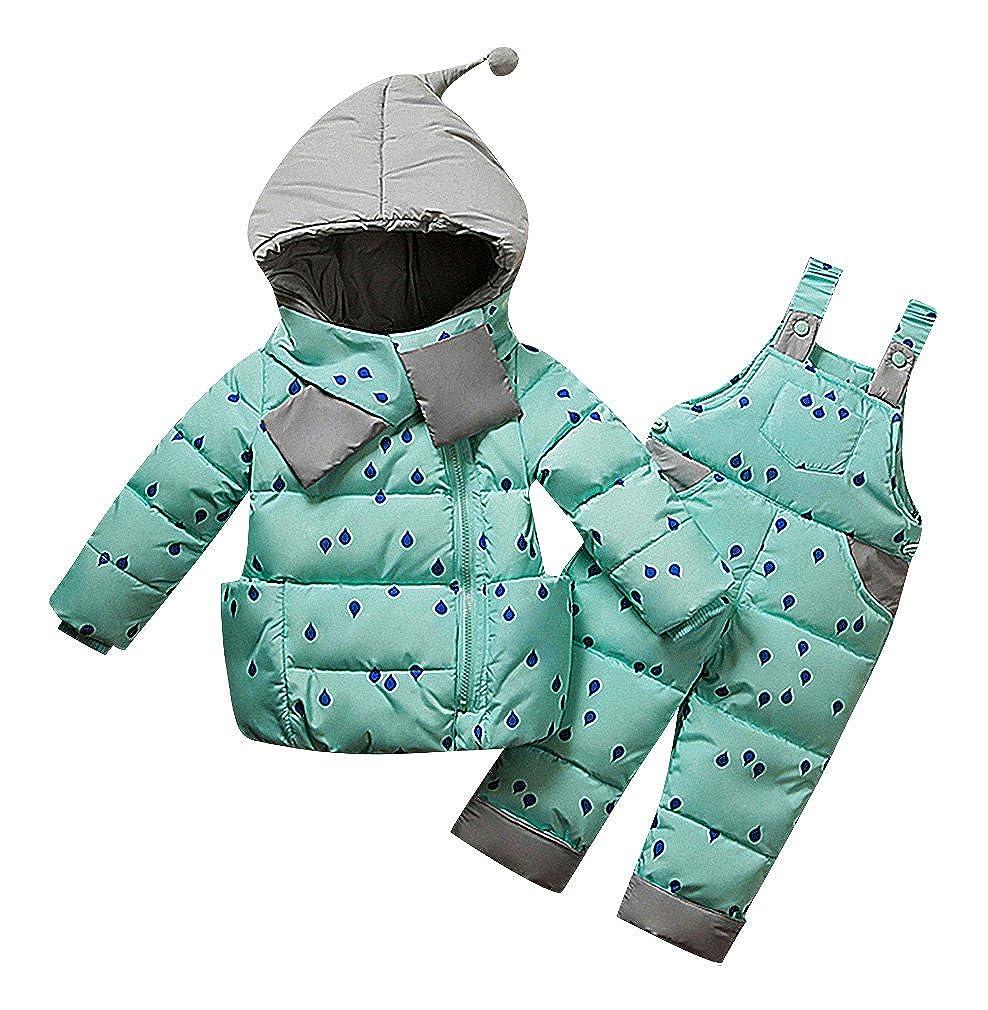 Sweety Kids Quilted Rain Drop Print Zip Up GNOME Hood Down Jacket /& Pants