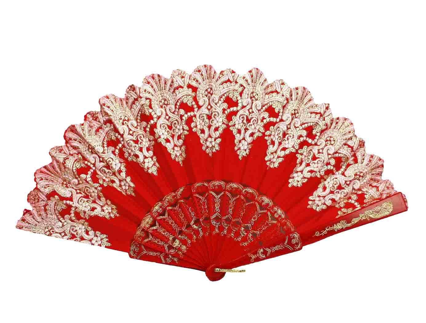 Fasching HAAC Spitzenf/ächer F/ächer Farbe Rot gemustert f/ür Feste Karneval