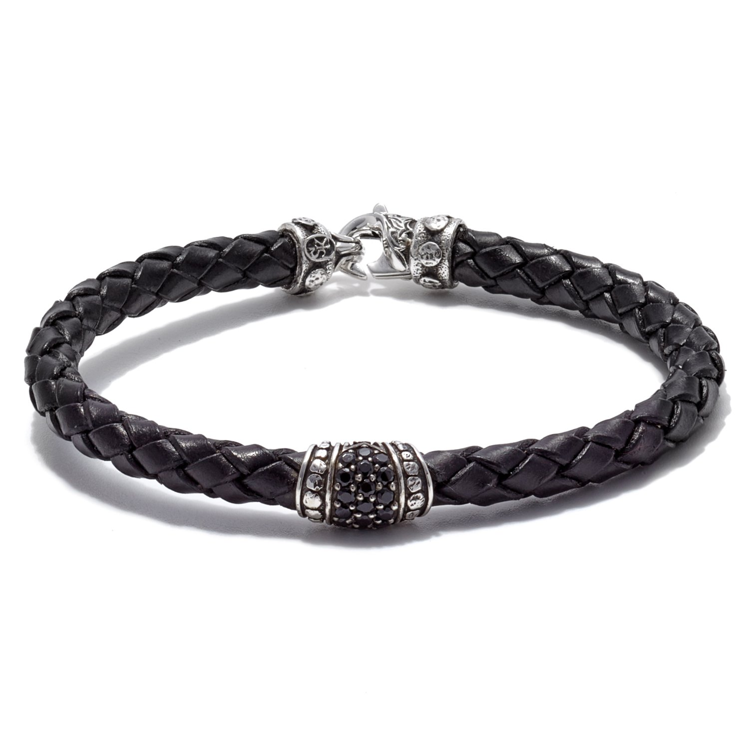 Scott Kay Sparta Collection Black Leather Bracelet, Pave Station Sterling Silver with Black Saphire 6mm, Size 8.5 inches
