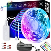 Led Strip Lights Multi-Color Music Kit, 10Meters RGB SMD 5050 IP20 Tape Lights with Build-in Mic Music Controller and…