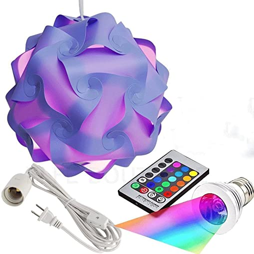 Puzzle Lights with Lamp Cord Kits and Remote Control Bulb, Self DIY Assembled Puzzle Lights Mordem Lampshade IQ Lamp Shades M Size Home Decor Light Purple Lampshade Remote Control Bulb Cord