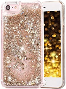 Case for iPhone 6/6S,Quicksand Moving Stars Bling Glitter Sparkle Dynamic Floating Liquid Glitter Case for Apple iPhone 6/6S(A Gold)