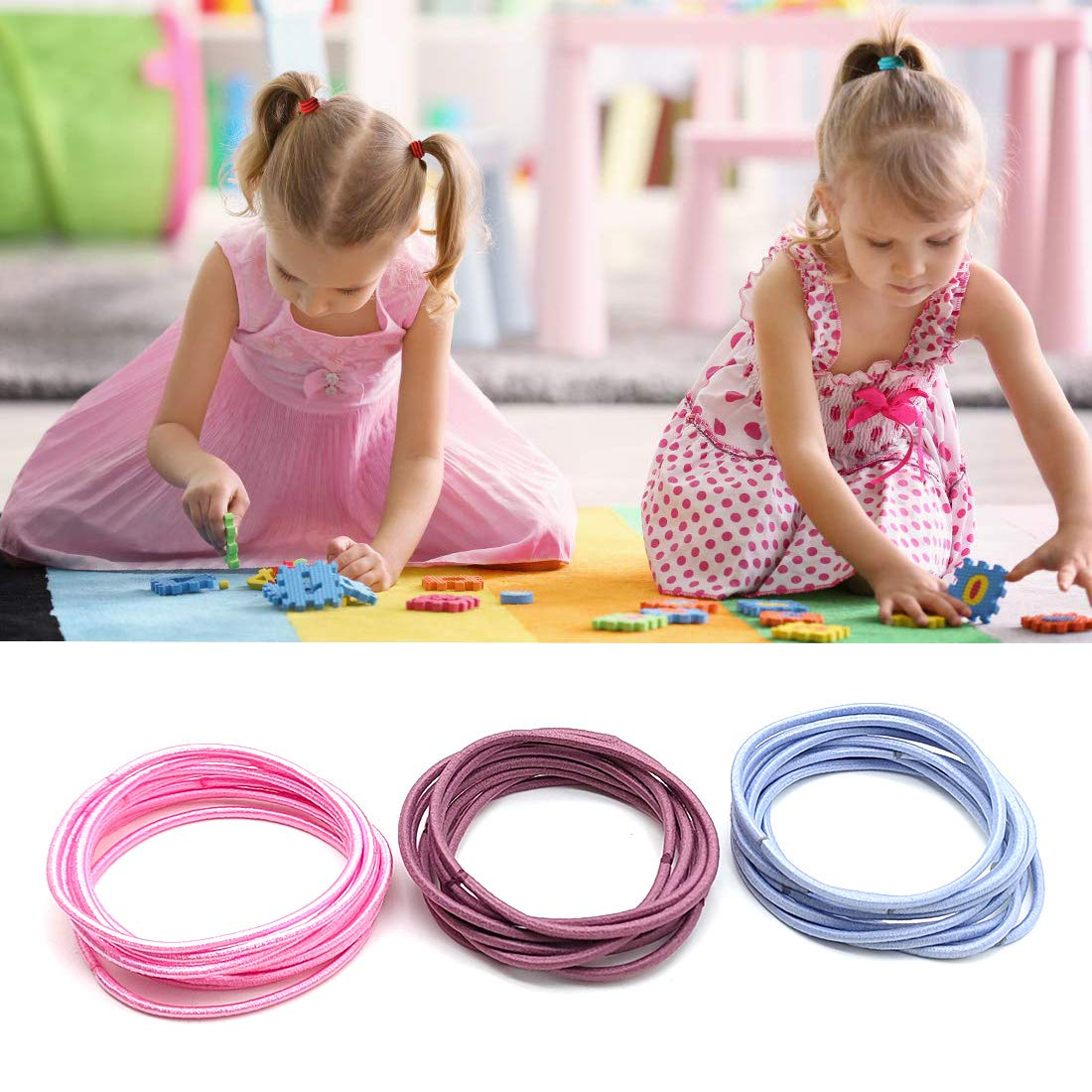 330 Pieces Multicolor No Crease Girls Hair Ties, Hair Bands ,Bulk Elastics Ponytail Holders Ties for Thick Heavy and Curly Hair (4.5 cm in Diameter, 2 mm) : Beauty