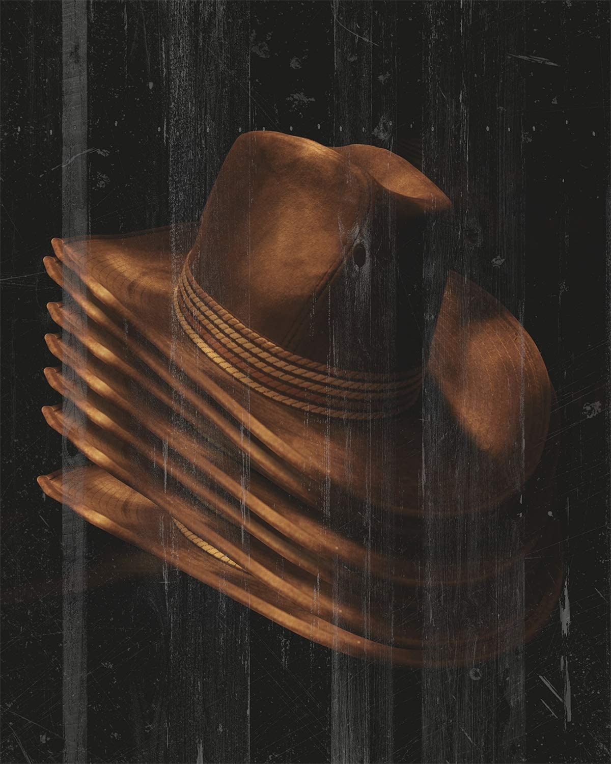 Cowboy Hats - Wall Decor Art Print on a dark printed woodgrain background - 8x10 unframed Western-themed print - great gift for relatives and friends