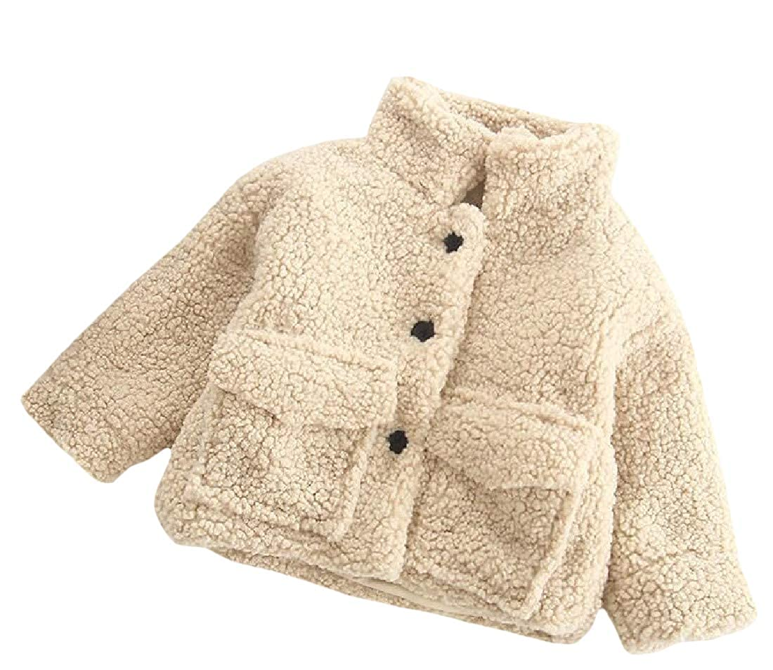 Sweatwater Boy Or Girl Winter Stand Collar Plush Single Breasted Parkas Coat