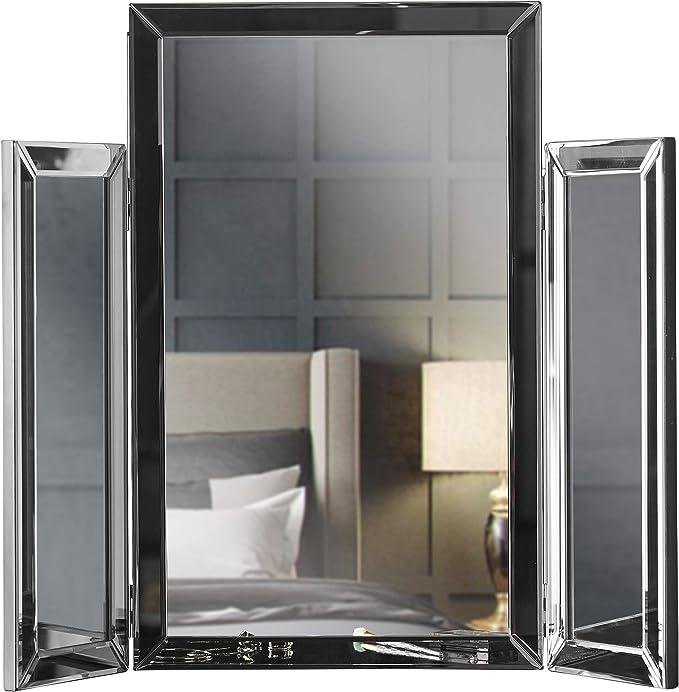 Carme Paloma - Espejo de tres pliegues con diseño de cristal biselado plegado para maquillaje o dormitorio, tocador (gris): Amazon.es: Hogar