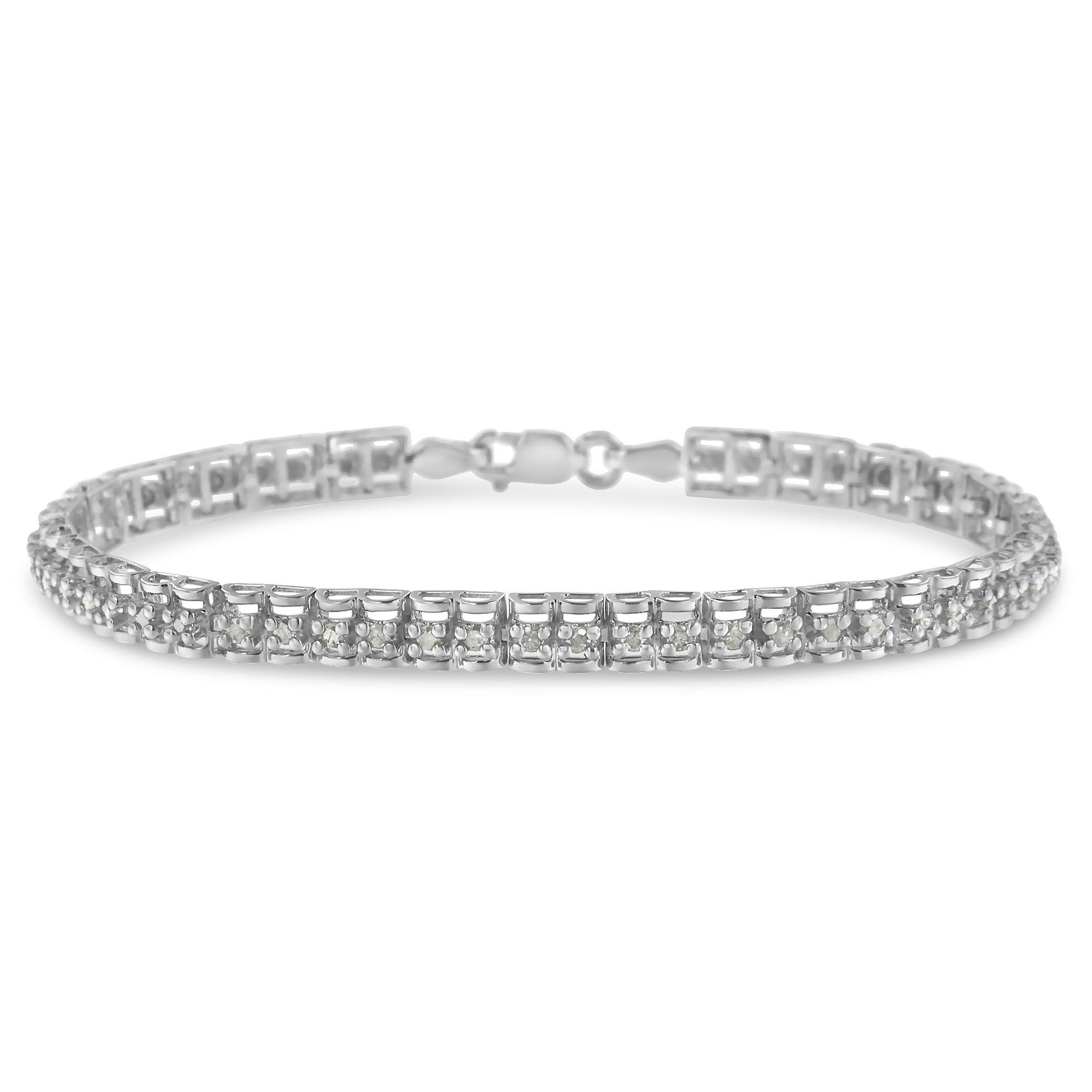 Sterling Silver Rose-cut Diamond Tennis Bracelet (1.00 cttw, I-J Color, I3 Clarity)