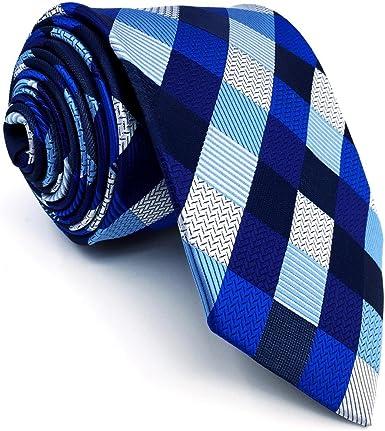 Shlax&Wing Hombre Traje De Negocios Corbatas Para Azul a cuadros ...