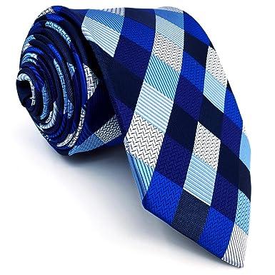 Shlax&Wing Hombre Traje De Negocios Corbatas Para Azul a cuadros Extra largo