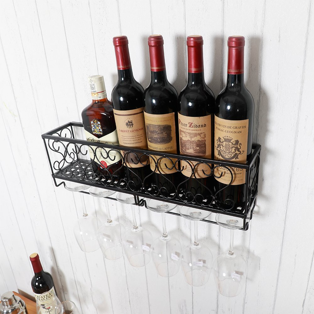 HENGHAO Wall Mounted Metal Wine Racks, Bottle & Glass Holder, Home & Kitchen Decor, 6 Bottles, Black (20'')