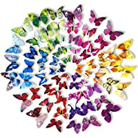 LANIAKEA 3D Butterfly Wall Decals Stickers, DIY Decor Nursery Decoration for Wallpaper, 6Colors 72pcs (Purple, Blue, Pink, Red, Yellow, Green)