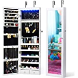 Titan Mall Jewelry Armoire with Mirror Wall Mounted Jewelry Organizer with LEDs Jewelry Cabinet Jewelry Organizer with Mirror Lockable Wall Door Mounted Jewelry Cabinet Organizer