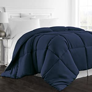Beckham Hotel Collection 1300 Series - All Season - Luxury Goose Down Alternative Comforter - Hypoallergenic -Queen/Full - Navy