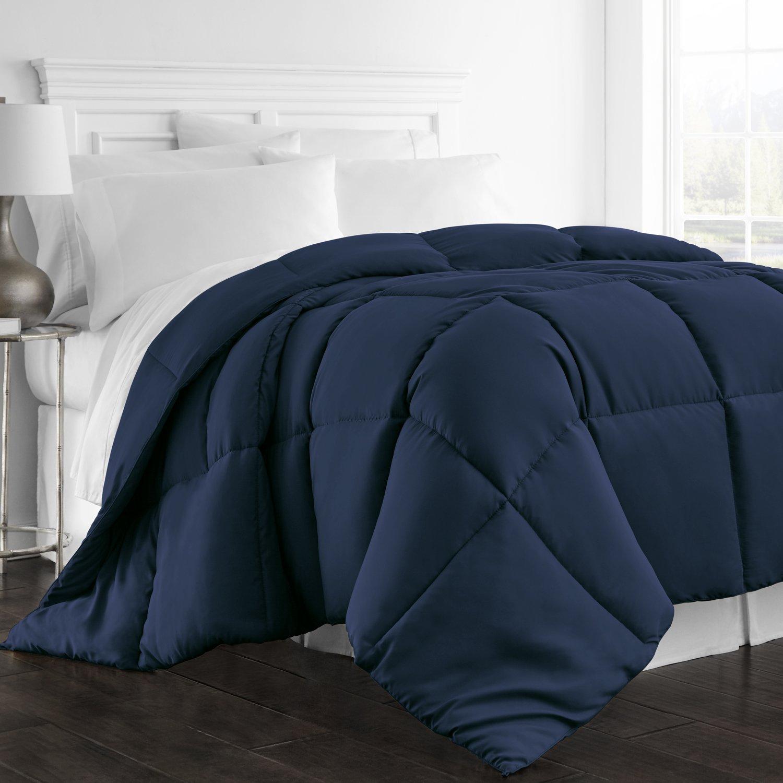 Beckham Hotel Collection 1300 Series - All Season - Luxury Goose Down Alternative Comforter - Hypoallergenic -Full/Queen - Navy