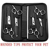 AUGYMER Pet Grooming Scissors Kit, Rounded Tips 5 PCS Curved Pet Grooming Scissors For Cats Dogs Stainless Steel Scissor For Body Face Ear Nose Paw