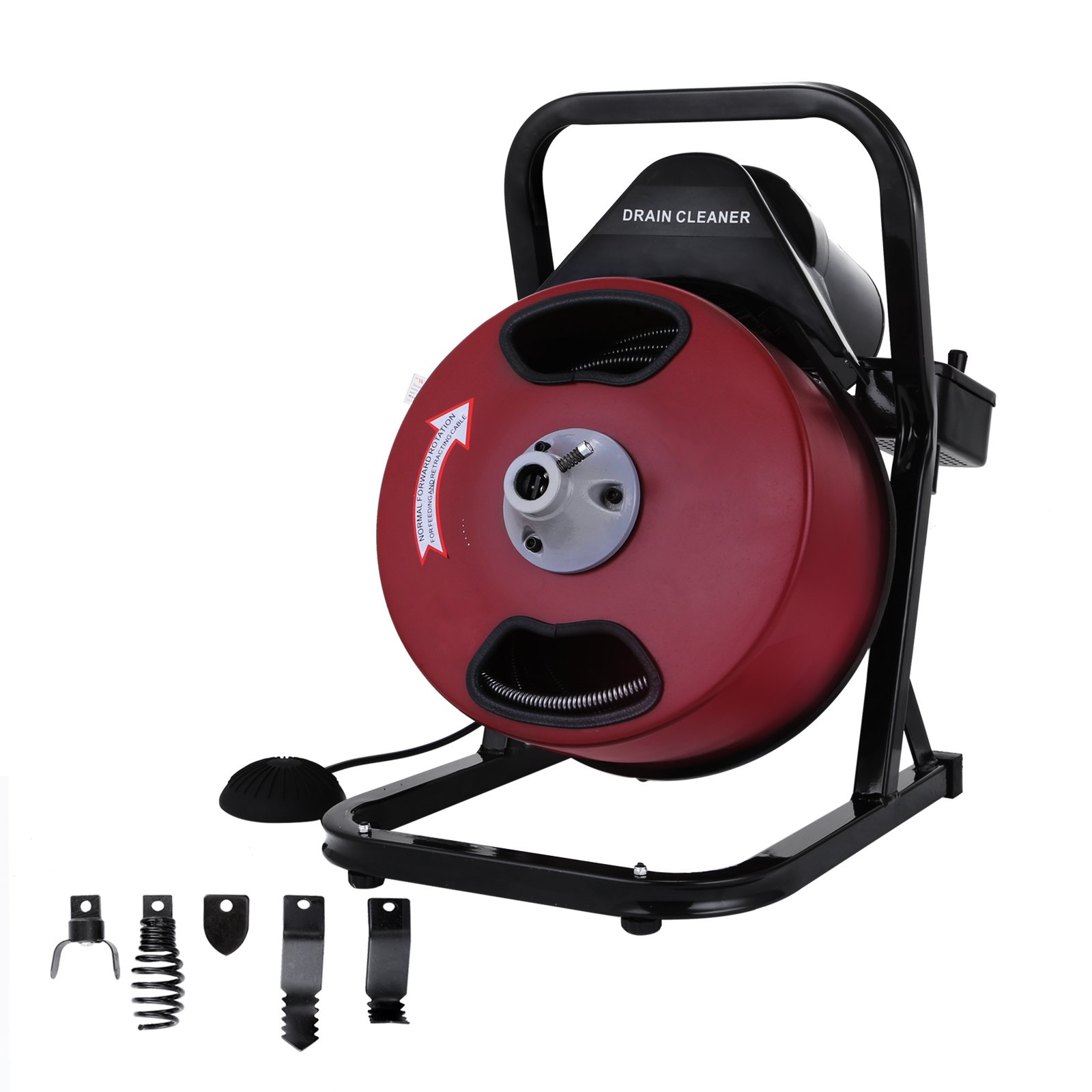 OrangeA Sewer Snake Drill Drain Auger Cleaner 50FT Long 1/2'' Wide Electric Drain Cleaning Machine 4 Cutter & Foot Switch Drain Cleaner Drum Auger Snake for 2'' to 4'' Pipes (HX-68284)