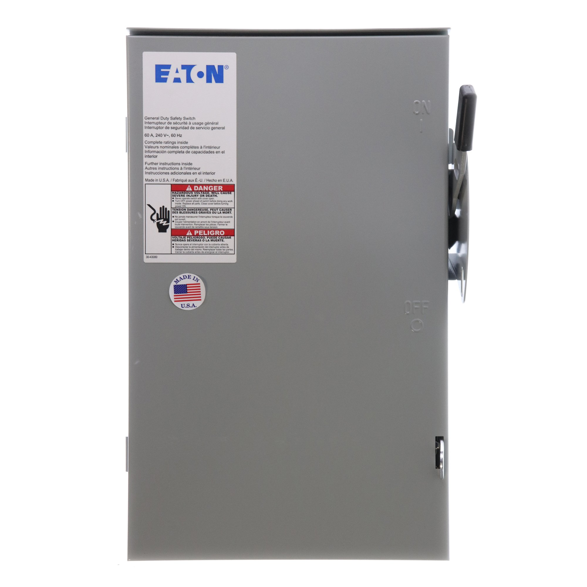 Eaton DG322NRB 4 Wire 3 Pole Fusible B Series General-Duty Safety Switch 240 Volt AC 60 Amp NEMA 3R by Eaton (Image #1)