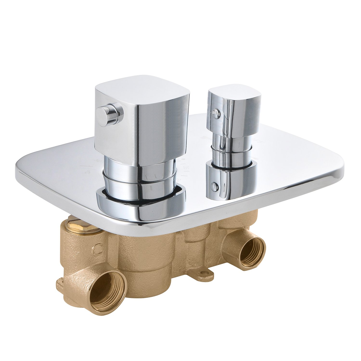 SUMERAIN Brass Concealed Dual Control Thermostatic Shower Valve, Chrome