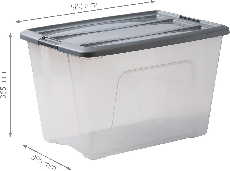 Transparente // Gris Iris Ohyama New Top Box NTB-60 lote de 4 cajas apilables de almacenamiento 60 L