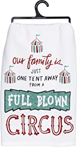 Primitives by Kathy LOL Made You Smile Glitter Dish Towel, 28-Inches Square, One Tent Away from A Circus