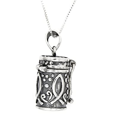 Amazon sterling silver antique filigree round tube style prayer amazon sterling silver antique filigree round tube style prayer box pendant necklace 16 inches jewelry aloadofball Gallery