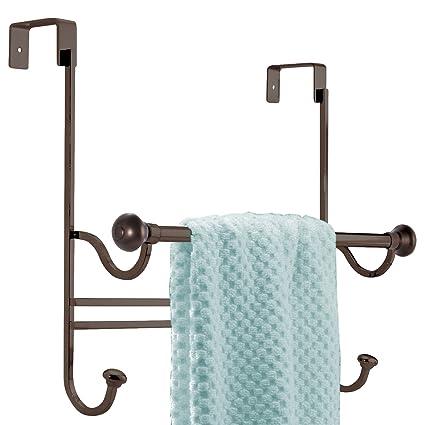 Merveilleux MDesign Bathroom Over Shower Door Towel Bar Rack With Hooks   Bronze