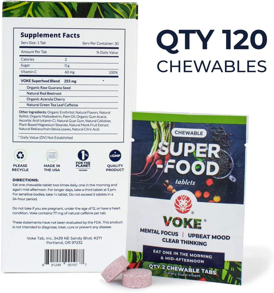 Voke Superfood Memory, Focus, and Mental Clarity Supplement 120 Chewable Natural Mental Energy Tablets with Vitamin C Antioxidants