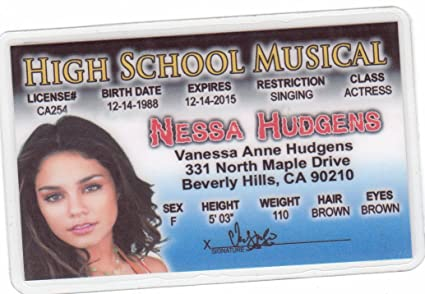 Fans Novelty com License Musical I Games Hudgens Fake Drivers Hart Of d Nessa For Amazon amp; Vanessa Toys High School Identification
