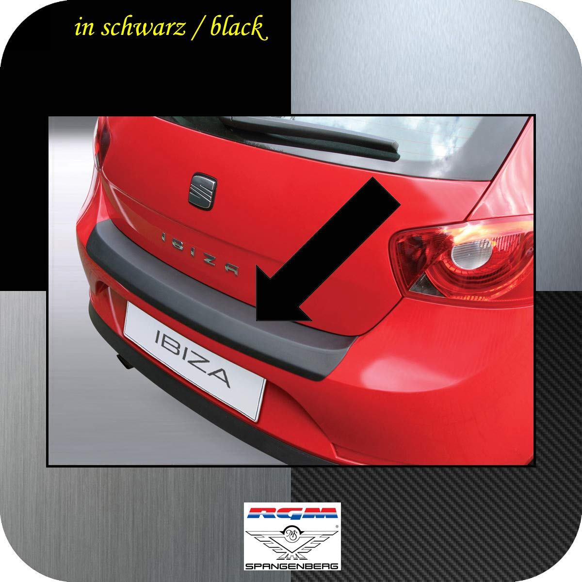 Richard Grant Mouldings Ltd. Original RGM ladekant Protección Negro para Seat Ibiza V Sport Coupe SC 3 Puertas a Partir de Facelift Bj 06.2008 - 03.2012 ...
