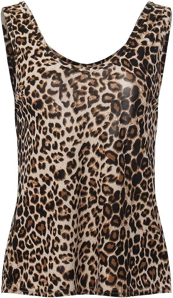 Toraway Fashion Women Summer Vest Sleeveless Leopard Print Casual Tank Tops T-Shirt Women Fashion Tops Shirt tee