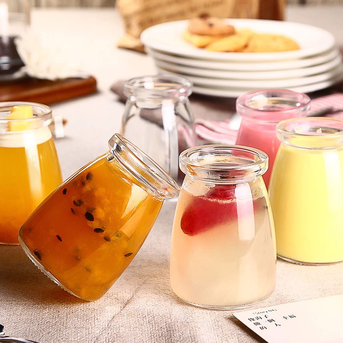 Glass Jars, KAMOTA 40 PACK 4oz Clear Yogurt Jars With PE Lids, Glass Pudding Jars Yogurt Jars Ideal for Jam, Honey, Wedding Favors, Shower Favors, Baby Foods (150ml) by KAMOTA (Image #5)