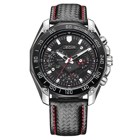 c7d02859dec1 jedir deportivo hombre analógico cuarzo exquisito Dial luminoso manos  relojes correa de piel reloj de pulsera para hombres  Amazon.es  Relojes