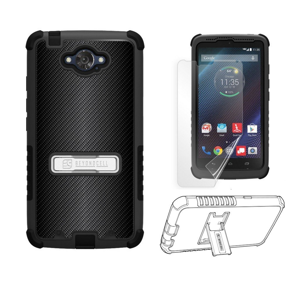For Motorola Droid Turbo XT1254 [Dirtproof] Heavy Duty Use High Impact Armor Hybrid Hard + Soft Rugged Durable Phone Case with built in kickstand - FREE Screen Protector (Carbon Fiber)