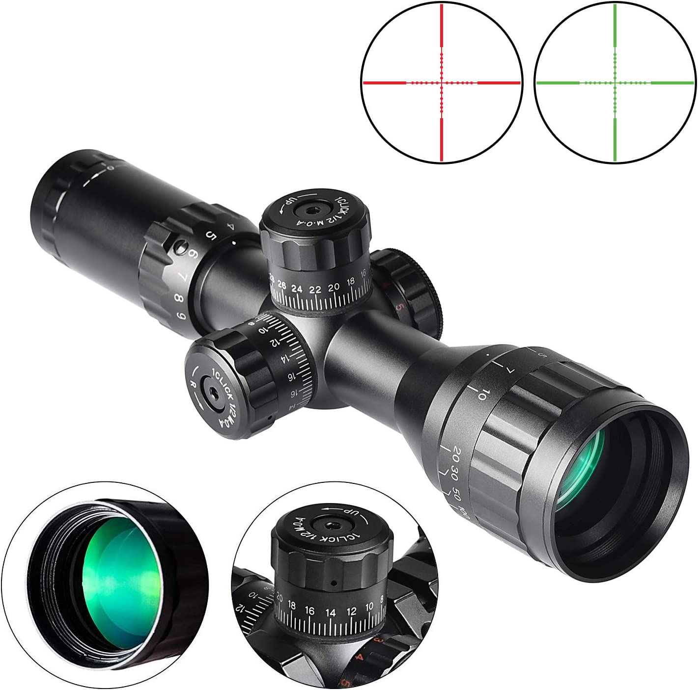 EZshoot 3-9×32 AO Red and Green Illuminated Scope, Mil-dot, 0.79 20mm Mount