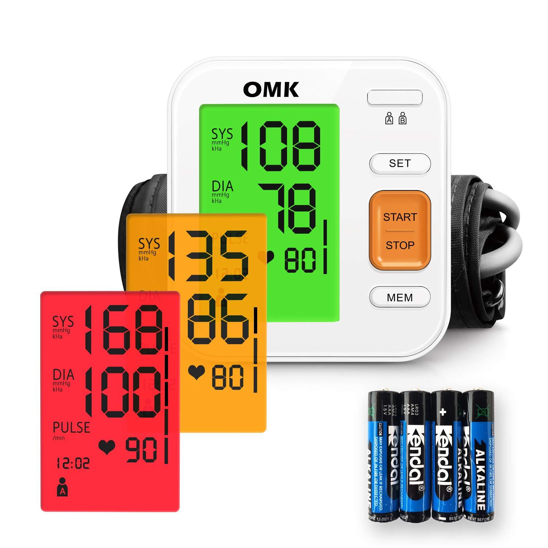 Tensiómetro Brazo Automático, OMK Monitor de Presión Arterial Preciso Con Brazalete 22-40cm, 2x120 Memorias, Pantalla Grande Con Retroiluminación ...
