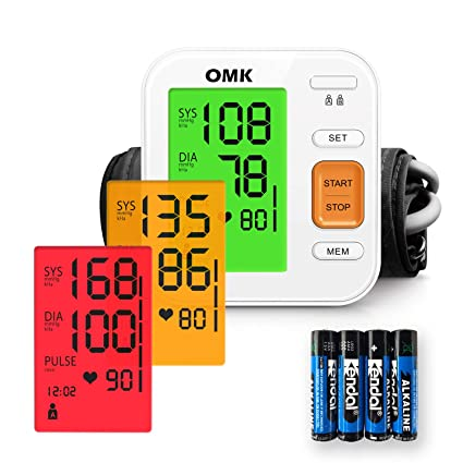 Tensiómetro Brazo Automático, OMK Monitor de Presión Arterial Preciso Con Brazalete 22-40cm,