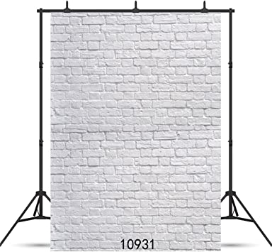 SJOLOON 5X7ft White Brick Wall Thin Vinyl Customized Photography Backdrop Background Studio Prop 10931