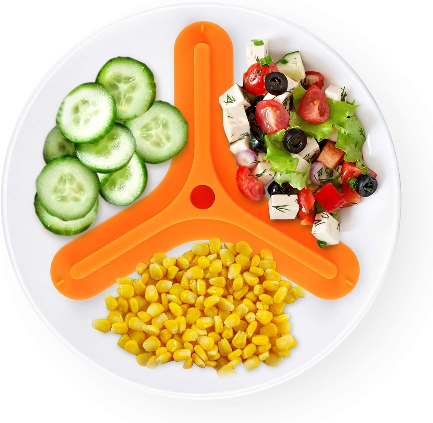 BPA Free Silicone Food Plate Divider 3 divided food plate separator Safe Food Silicone (Orange,Large)
