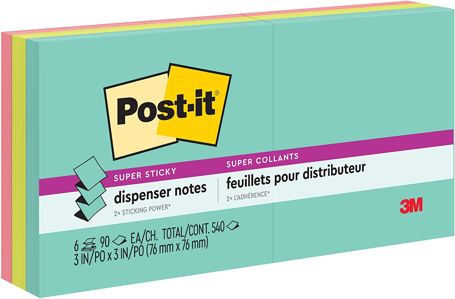 Post-it Super Sticky Pop-up Notes, 3x3 in, 6 Pads, 2x the Sticking Power, Miami Collection, Neon Colors (Orange, Pink, Blue, Green), Recyclable (R330-6SSMIA)