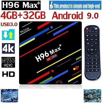 H96 MAX Plus Android 9.0 Smart TV Box 4GB RAM 32GB ROM Set Top Box RK3328 Soporte 2.4G/5G WiFi 4K Bluetooth H.265 Media Player: Amazon.es: Informática