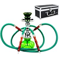 "GSTAR 11"" Premium 2 Hose Hookah Complete Set - Mini Pumpkin Hookah Glass Vase - Pick Your Color (Spring Green + Case)"