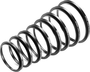 Neewer 8 Pieces Step-up Adapter Ring Set Made of Premium Anodized Aluminum, Includes: 49-52mm, 52-55mm, 55-58mm, 58-62mm, 62-67mm, 67-72mm, 72-77mm, 77-82mm-Black