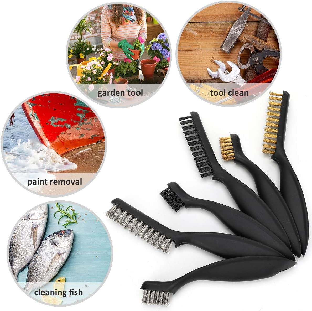 Rollingdog 6-Piece Wire Scratch Brush Crimped Brush Set for Stripping Paint Rust And Cleaning Pipe Threads