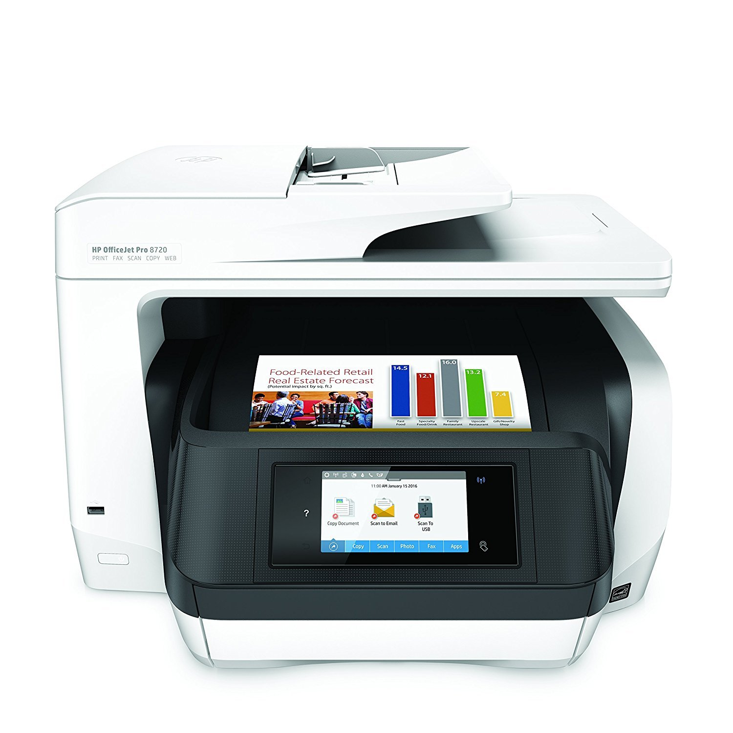 HP M9L74A OfficeJet Pro 8720 All-in-One Printer, White (Renewed) by HP