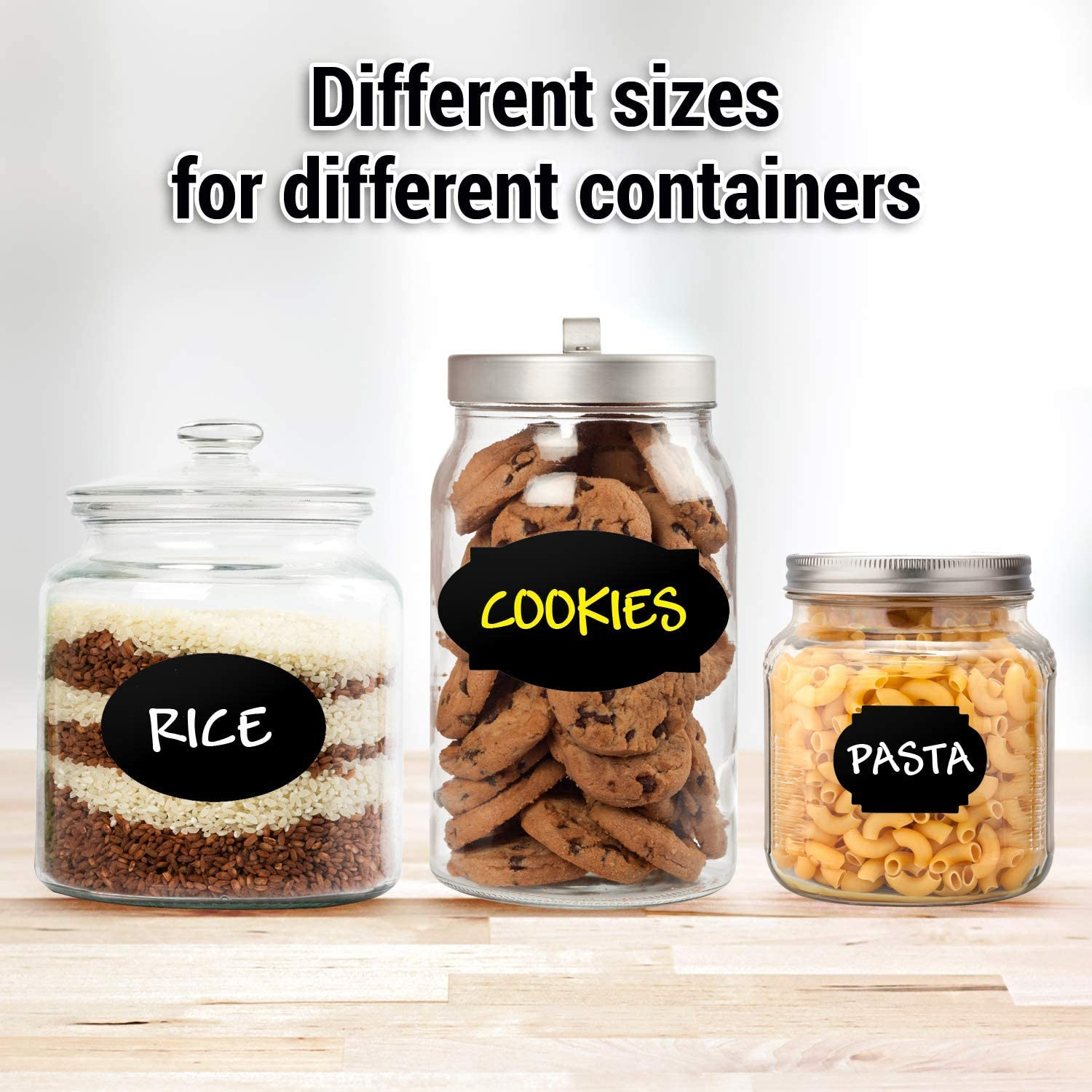 Chalkboard Labels 173 Pcs Pack, Reusable and Waterproof Stickers for Containers, Jars; Mason, Spice, and Glass, Blackboard Organizer for Kitchen and Pantry in Small, Medium, and Large with 2 Markers : Office Products