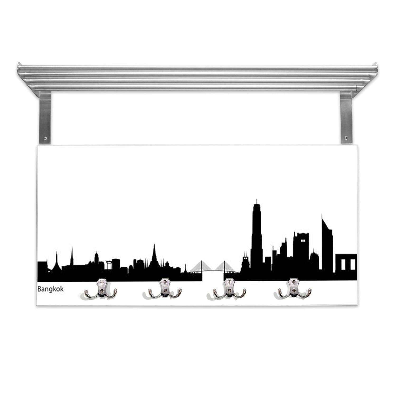 Perchero blanco con repisa trasera y diseño: Bangkok skyline ...