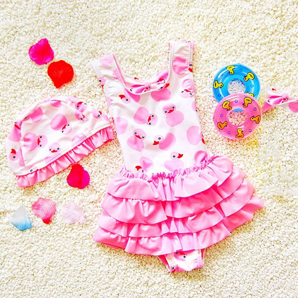 feiXIANG M/ädchen Badeanzug Badekappen Set Baby Girl Bademode Kind Badebekleidung Karikatur Ente Rock Swimwear