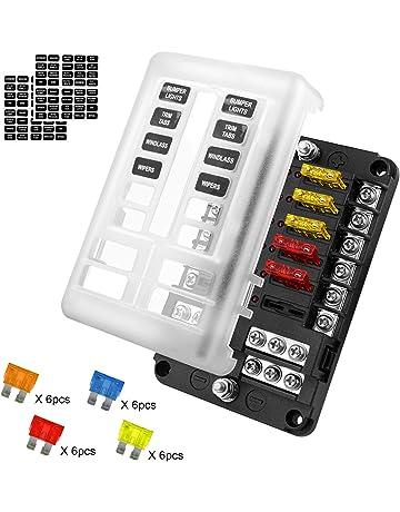 KKmoon 6 V/ías Portafusibles Caja de Fusibles para Coche Barco Marino 12V 24V