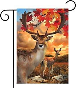 Briarwood Lane Harvest Deer Autumn Garden Flag Buck and Doe Autumn 12.5