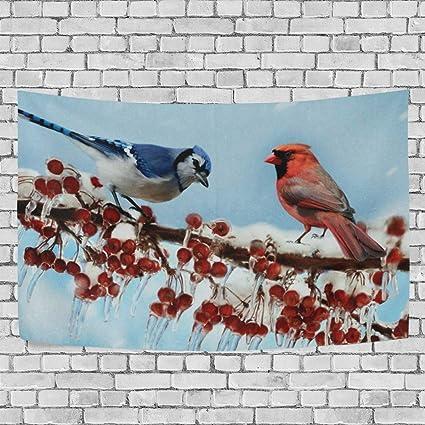 42d9de86766a6 Amazon.com: DOPKEEP Cardinals Birds Winter Tapestry Tapestries Decor ...